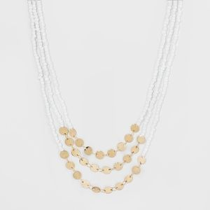 Gold And White beaded  Layered Coin Necklace